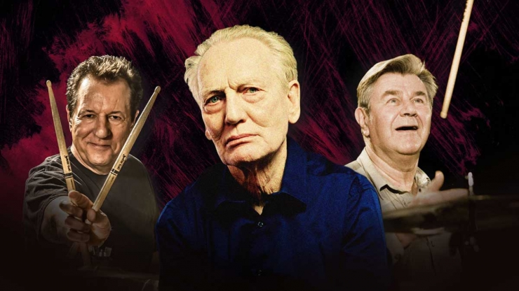 Ginger Baker Herman Rarebell and Pete York in Drum Legends at Brighton Dome