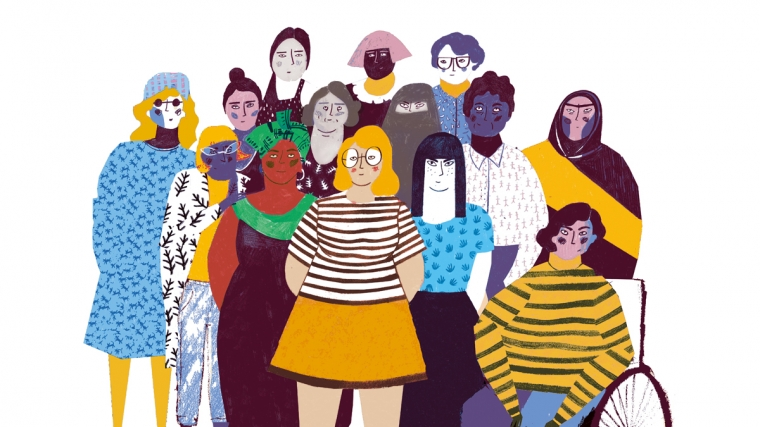 Colourful illustration of a group of women together