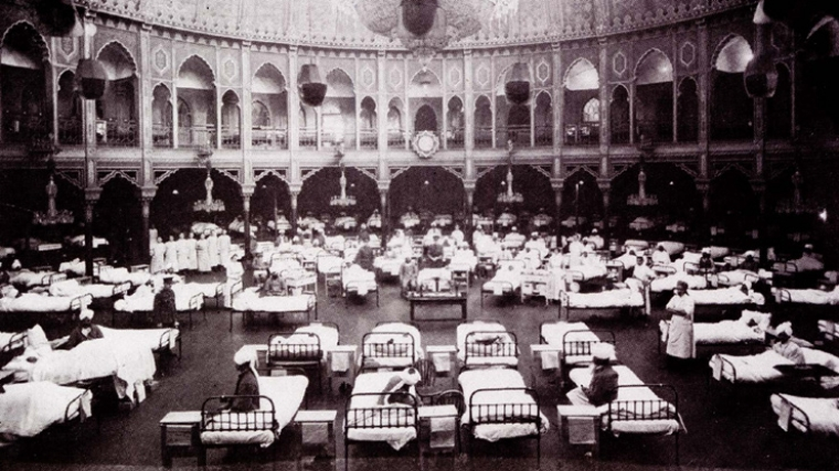 Brighton Dome's Concert Hall used as a military hospital for wounded Indian soldiers during World War I