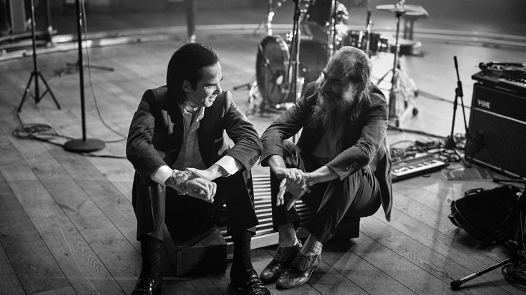 Black and white photo of Nick Cave & Warren Ellis