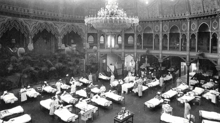 Brighton Dome used as a military hospital for wounded Indian soldiers during World War I
