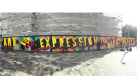 Image of painted hoardings at Brighton Dome