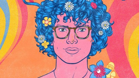 A colourful illustration of Simon Amstell wearing glasses, with flowers in his bright blue, short, curly hair