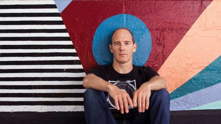 Caribou - photo by Thomas Neukum - Background Mural by Amber Elise