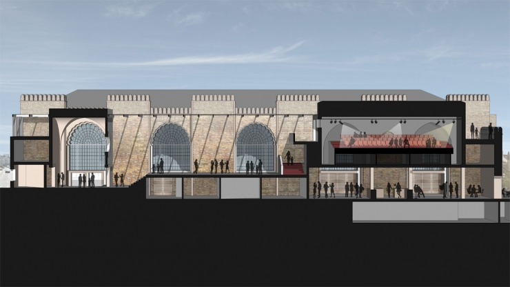 Cut-through of Brighton Dome Corn Exchange visualisation