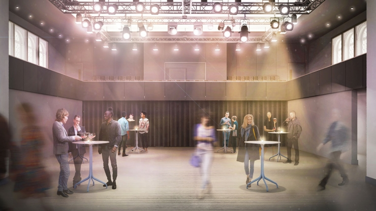 Visualisation of Brighton Dome Studio Theatre in use as an event / breakout space