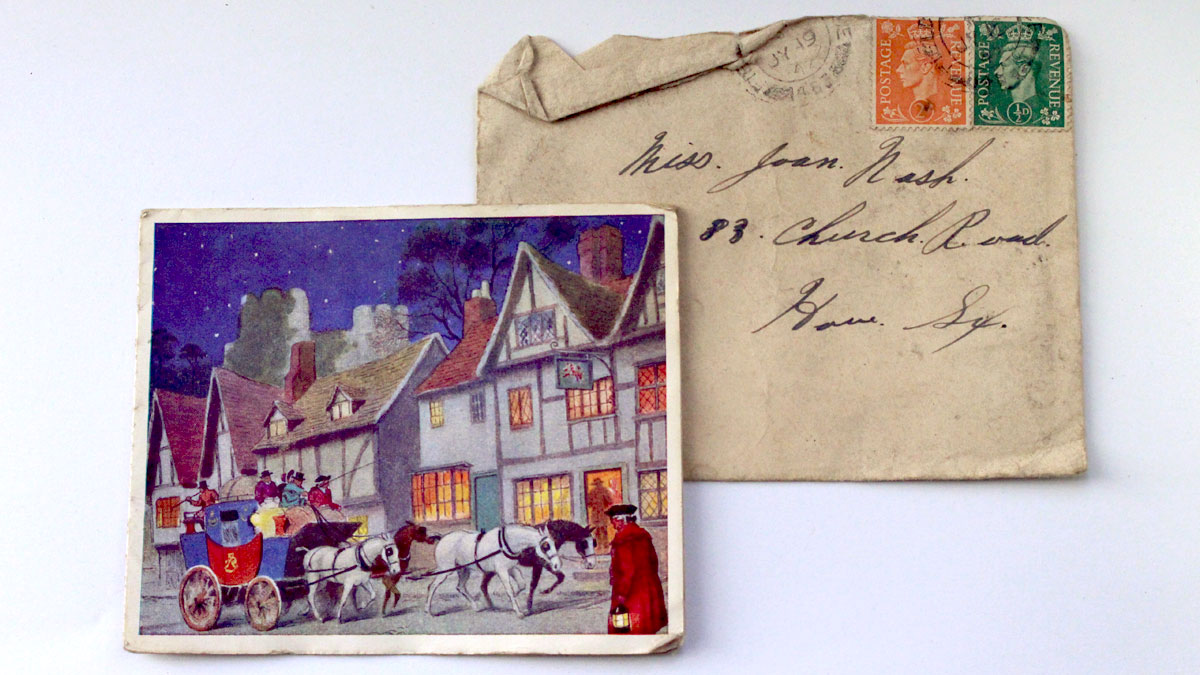 Christmas Card from WW1 found in the 1999 refurbishments
