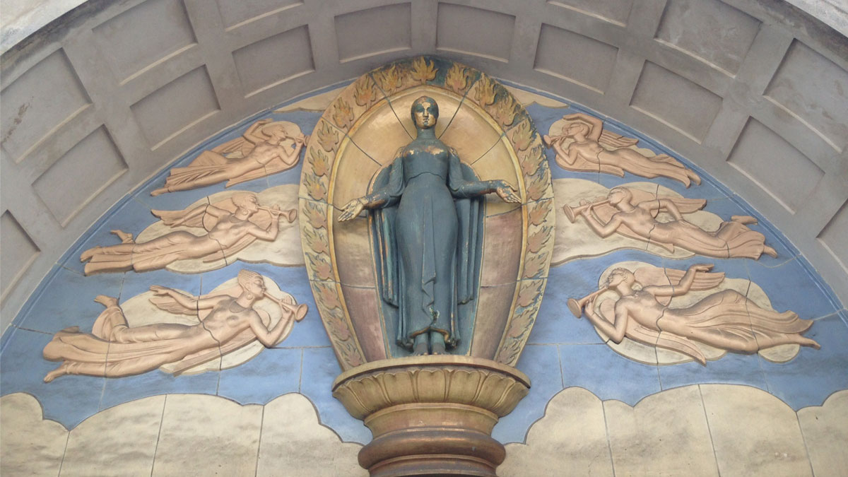 Statue of Ceres above Brighton Dome Corn Exchange 1935 by James Woodford