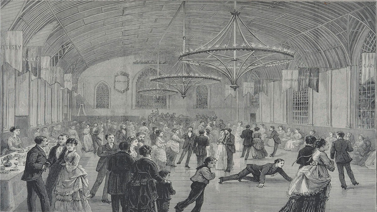 Corn Exchange used as a skating rink in 1874