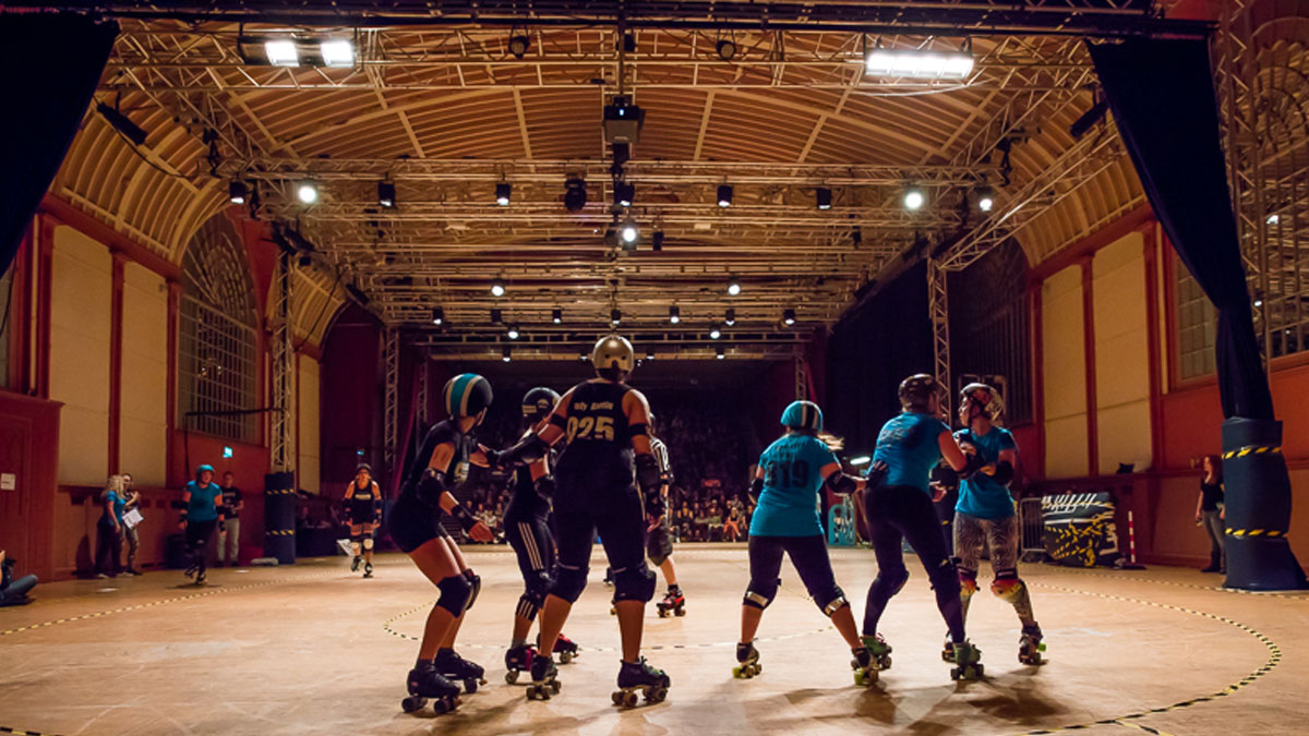 Corn Exchange set up for a Roller Derby in 2016