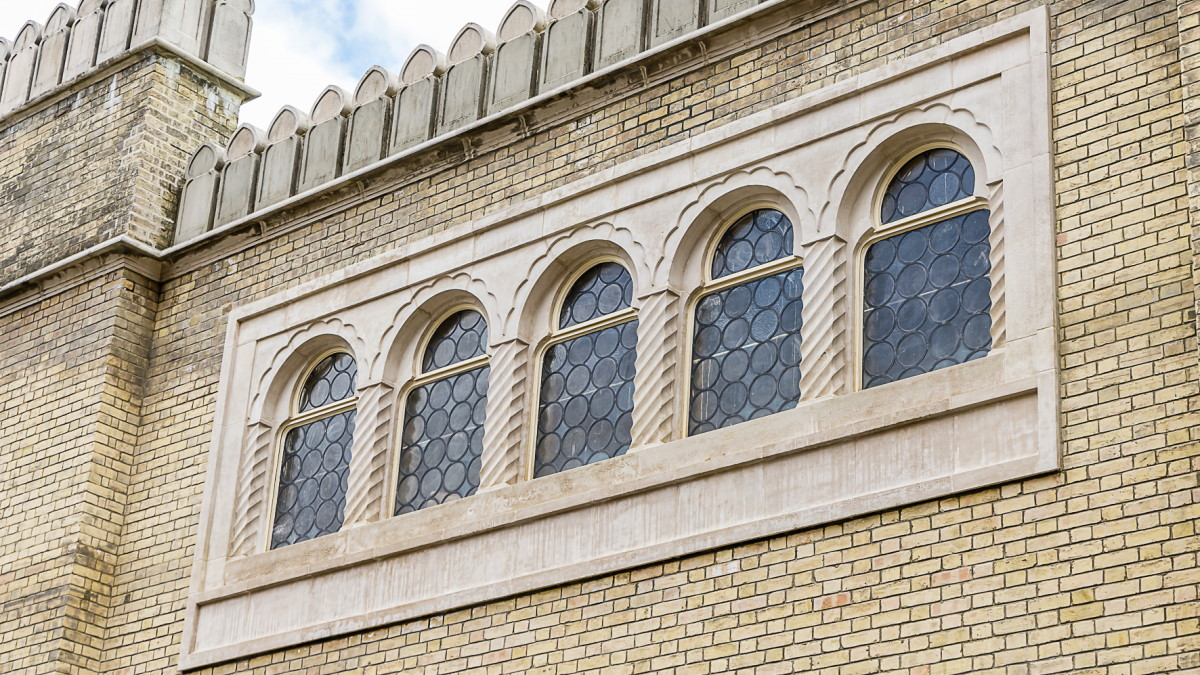 Photo of the Studio Theatre's crenelated style windows, which mimic the character of the Royal Pavilion