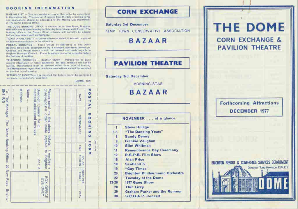 Brighton Dome History and Heritage December 1977 Programme