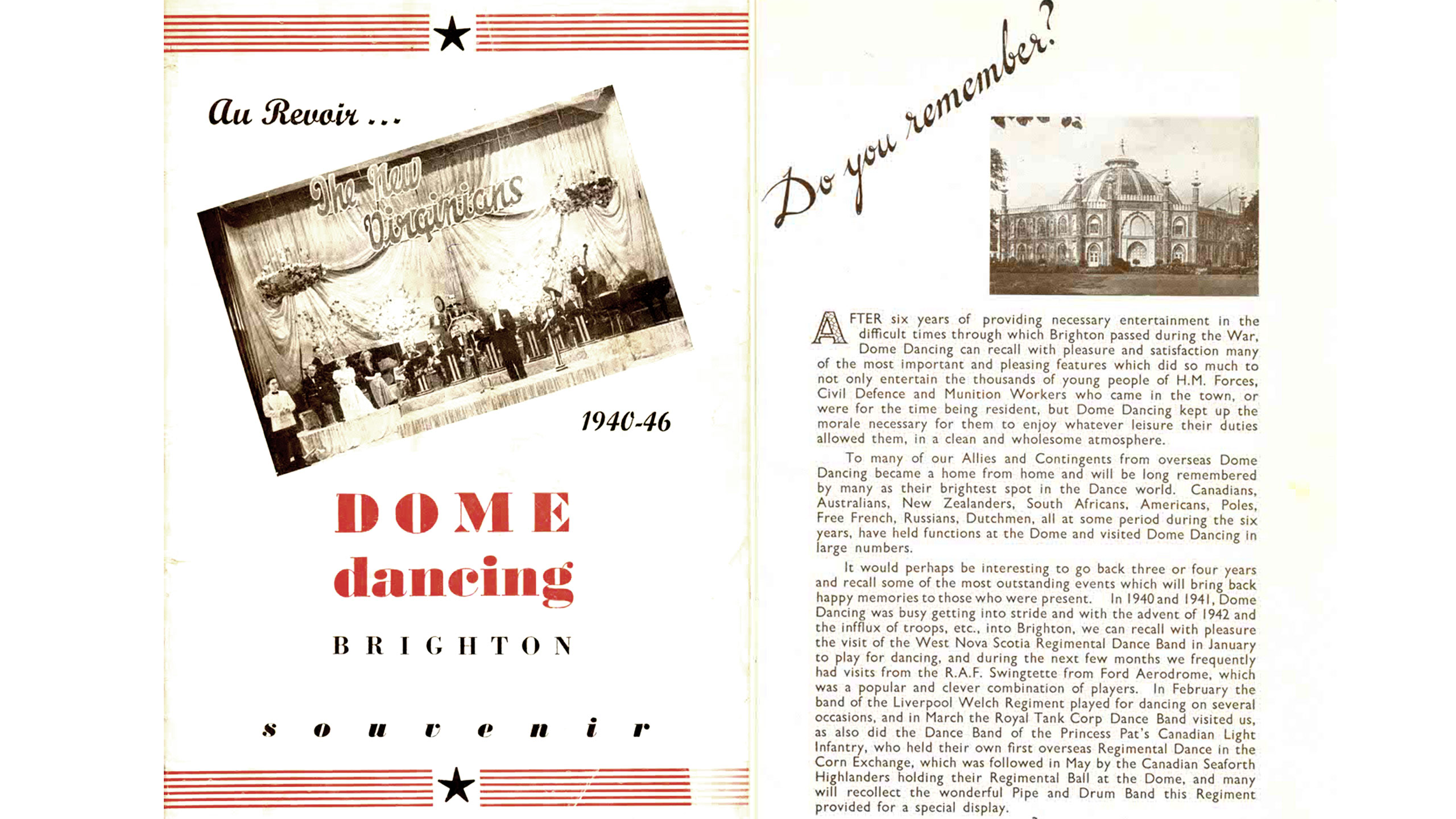 Dome Dancing Programme 1940-1946 Cover and Intro Pages