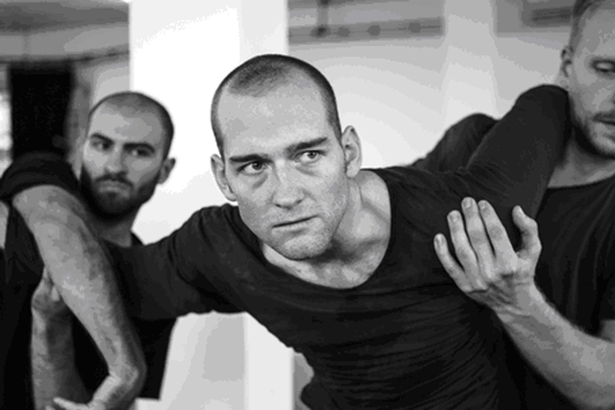 Andi Xhuma, Hannes Langolf (John) and Ian Garside in rehearsals. Photo by Ben Hopper