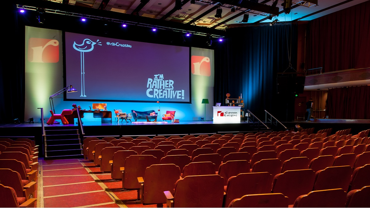 Brighton Dome Concert Hall set up for a 'creative' conference/talk